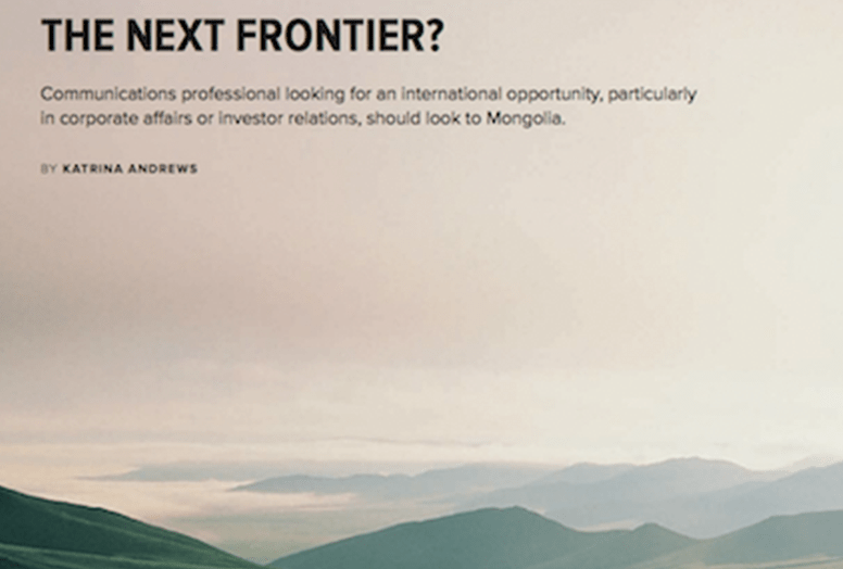 Mongolia – The Next Frontier